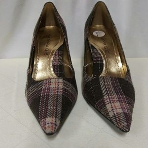 Rampage Maria Fabric Plaid Pointed Toe Heel